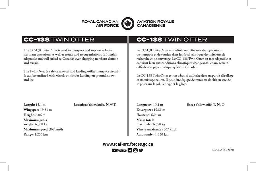 CC-138 Twin Otter fact sheet details