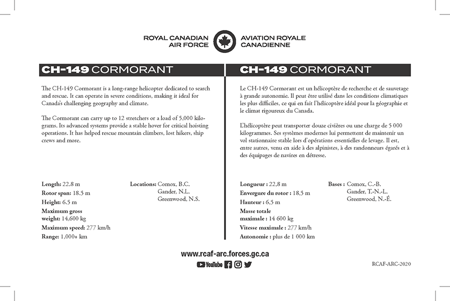 CH-149 Cormorant fact sheet details