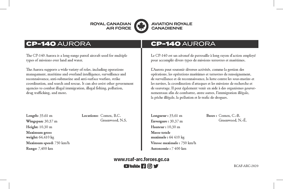 CP-140 Aurora fact sheet details