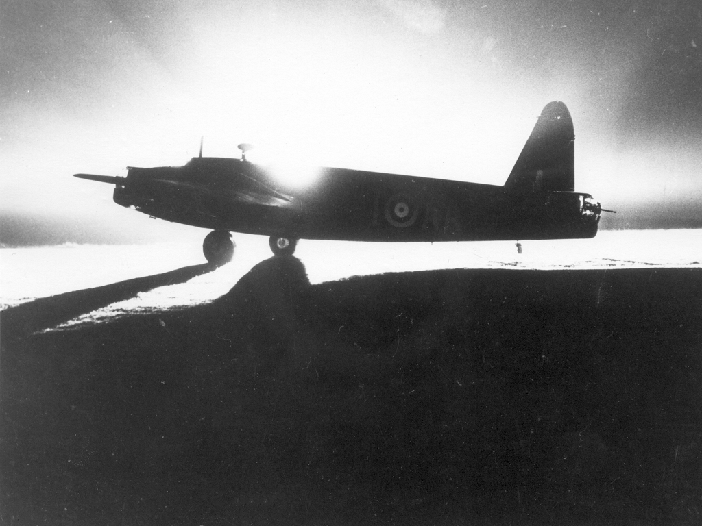 A dramatic night-time view of a Royal Air Force Wellington Mk I. PHOTO: RAF