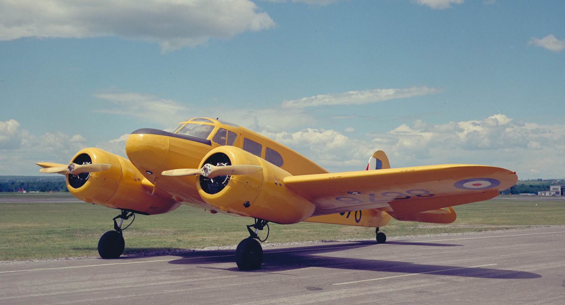 A Cessna Crane Mk 1 aircraft painted in yellow training livery. PHOTO: DND Archives, PCN-3871