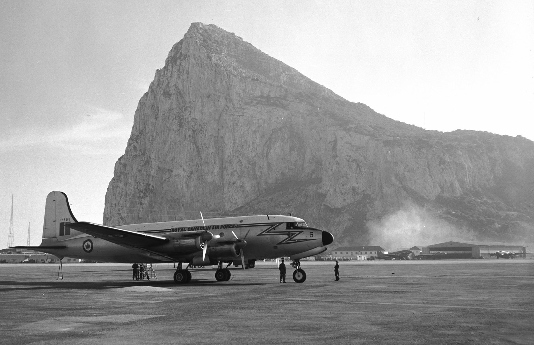 A North Star from the RCAF's Air Transport Command rests on the runway at Gibraltar. PHOTO: DND Archives, PL-107404